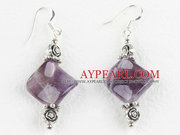 Amethyst and Flower Charm Earrings