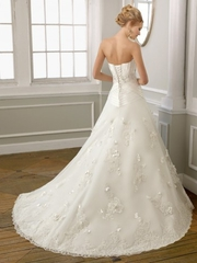 Satin Organza Sweep Train Sweetheart Princess Wedding Dress