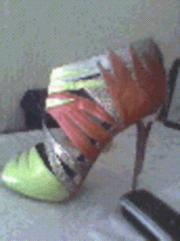 RIVERISLAND MULTICOLOURED CAGE HEELS VERY EYE CATCHING PAIR OF HEELS!!